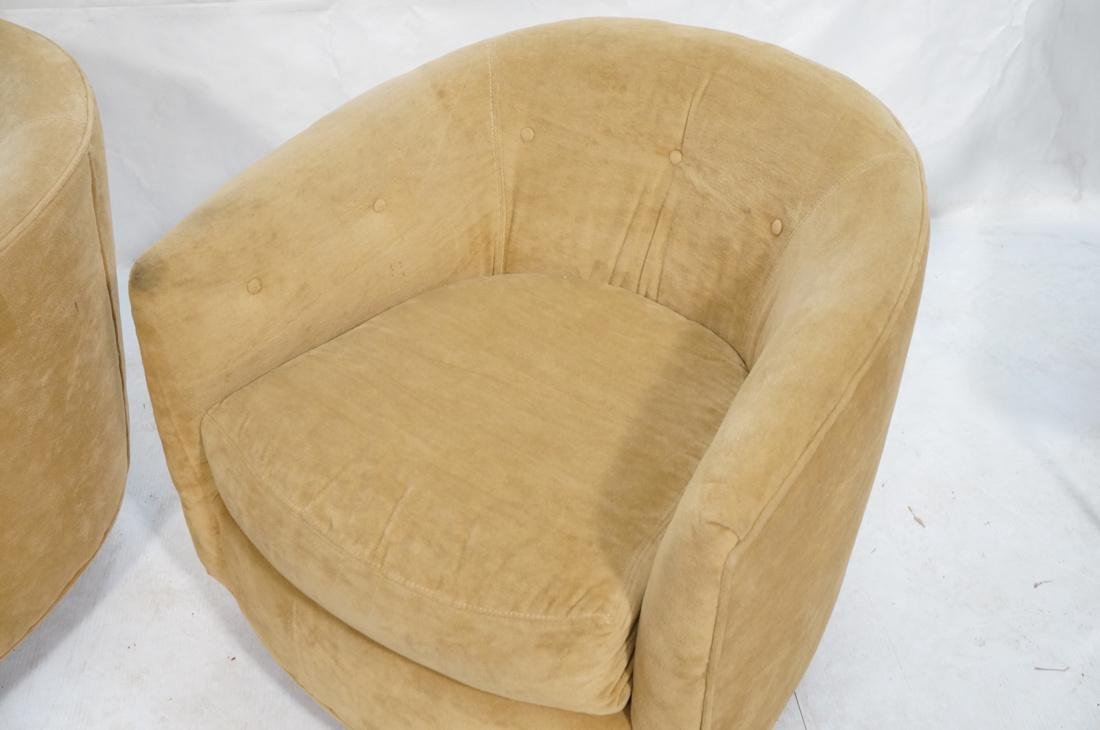 Pr MILO BAUGHMAN Style Swivel Lounge Chairs. Tan - 6