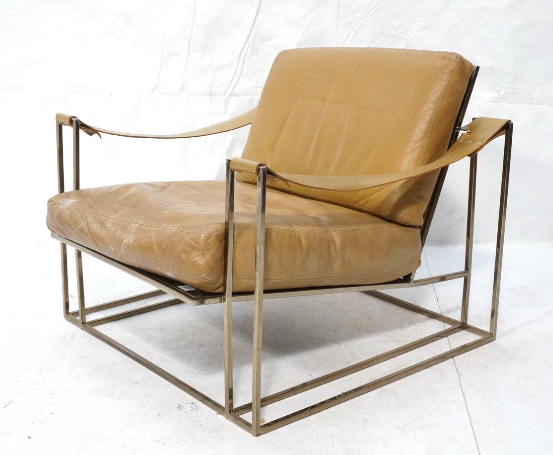 Leather & Metal Cube Lounge Chair. Leather arm st
