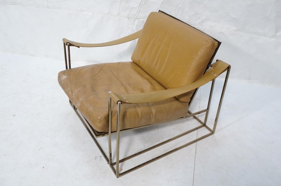 Leather & Metal Cube Lounge Chair. Leather arm st - 2