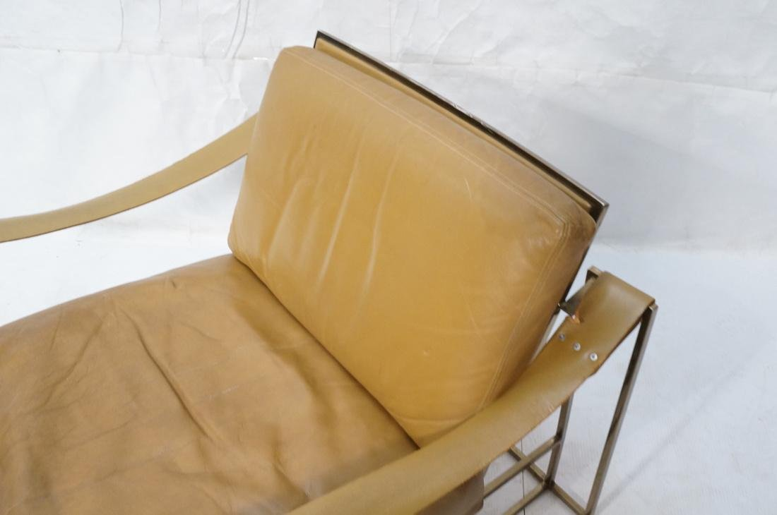 Leather & Metal Cube Lounge Chair. Leather arm st - 3