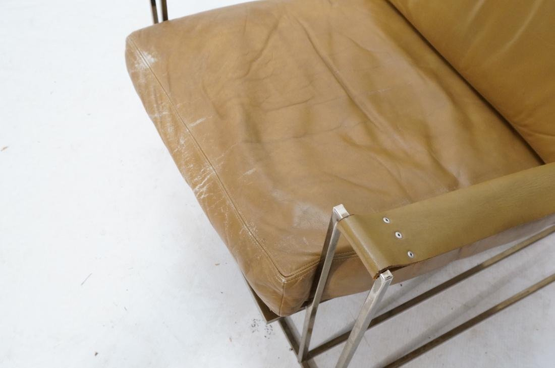Leather & Metal Cube Lounge Chair. Leather arm st - 4
