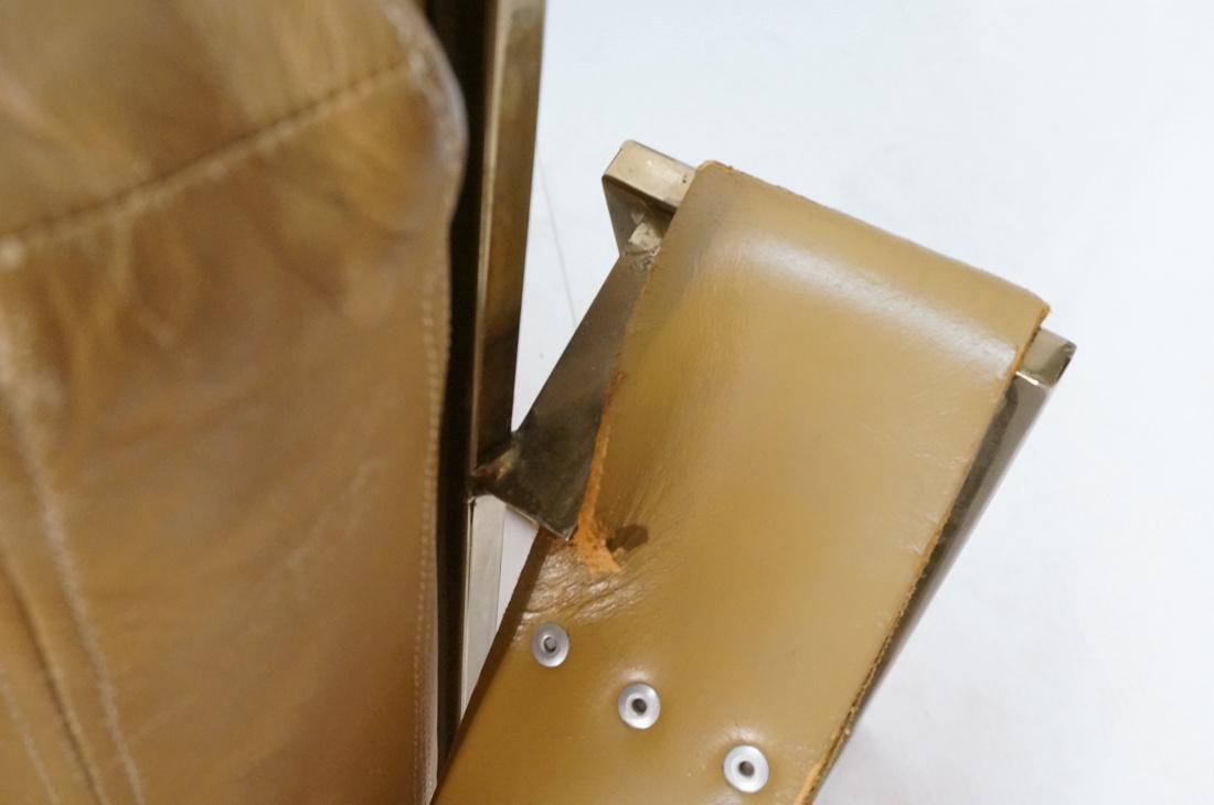 Leather & Metal Cube Lounge Chair. Leather arm st - 5