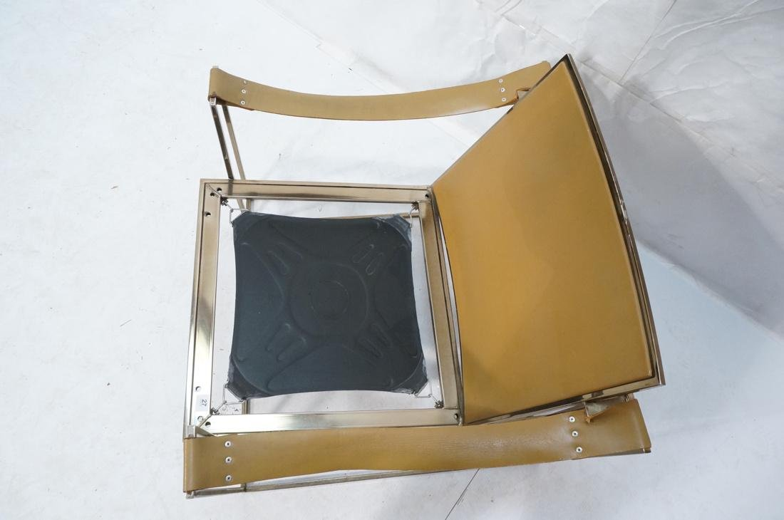 Leather & Metal Cube Lounge Chair. Leather arm st - 7