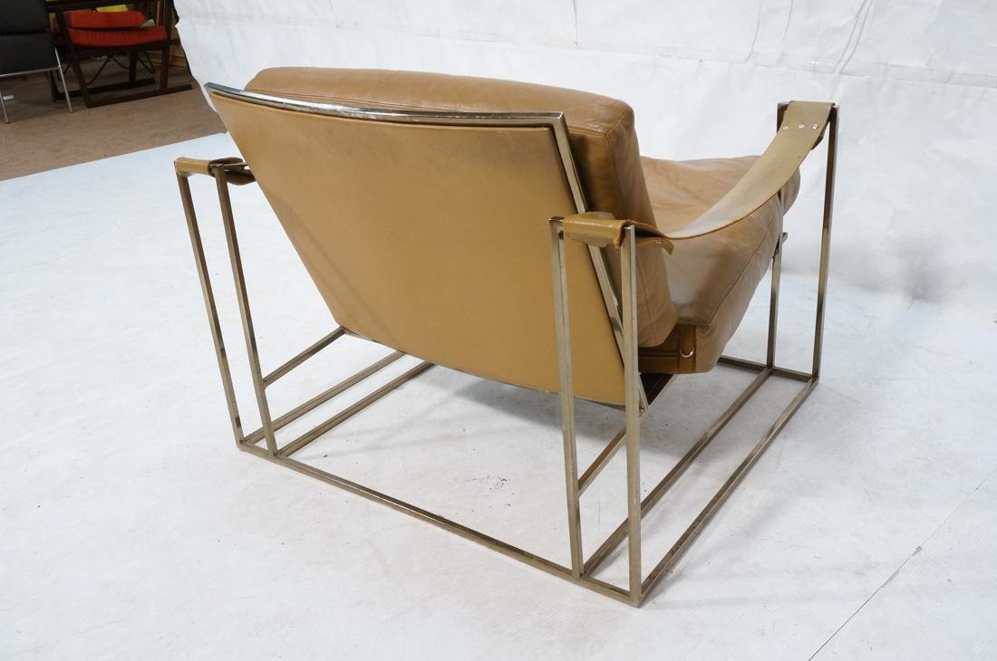 Leather & Metal Cube Lounge Chair. Leather arm st - 9