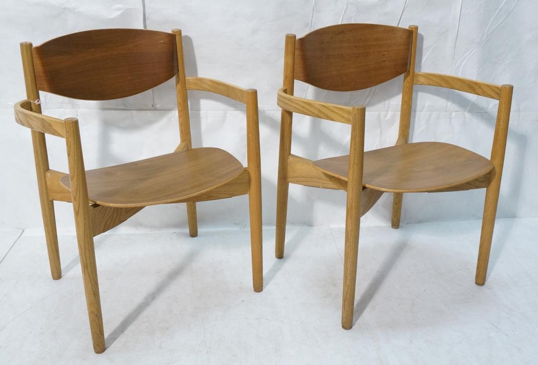 Pr JENS RISOM Blond Wood Arm Side Dining Chairs.
