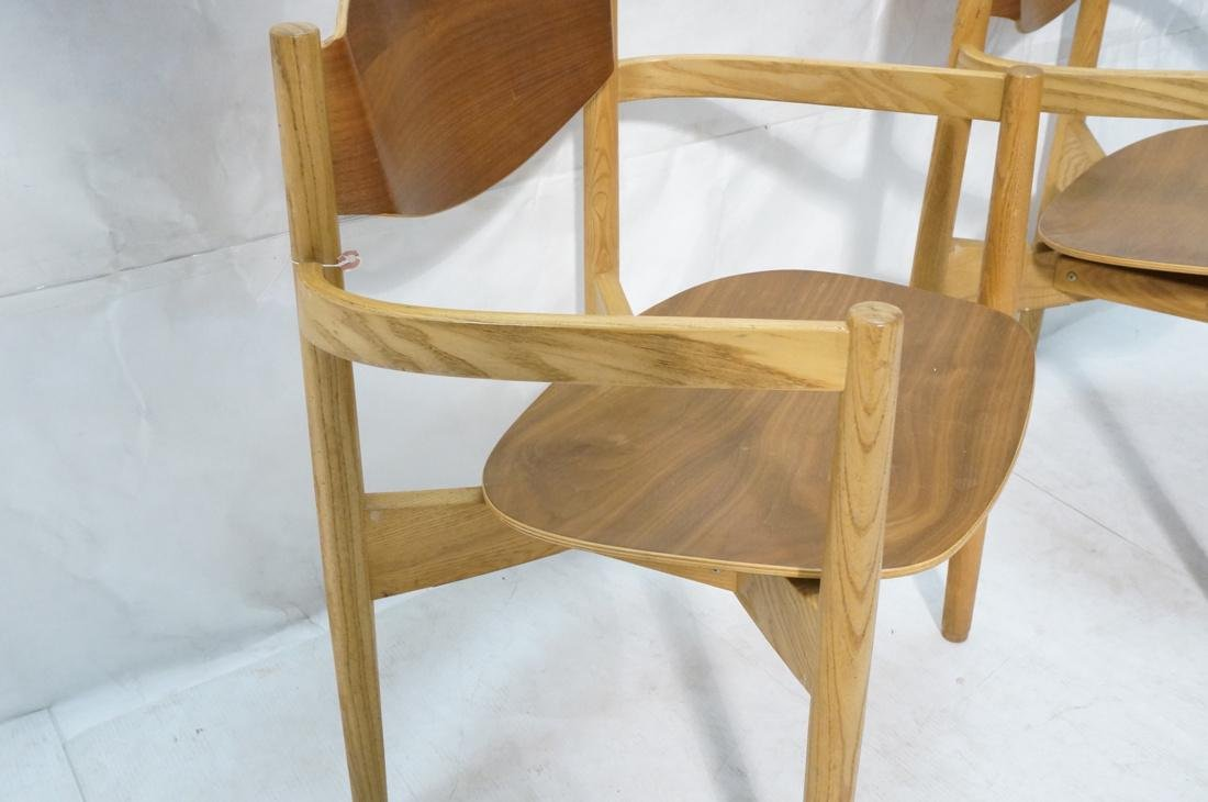 Pr JENS RISOM Blond Wood Arm Side Dining Chairs. - 2