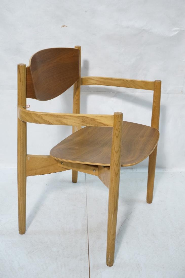 Pr JENS RISOM Blond Wood Arm Side Dining Chairs. - 4