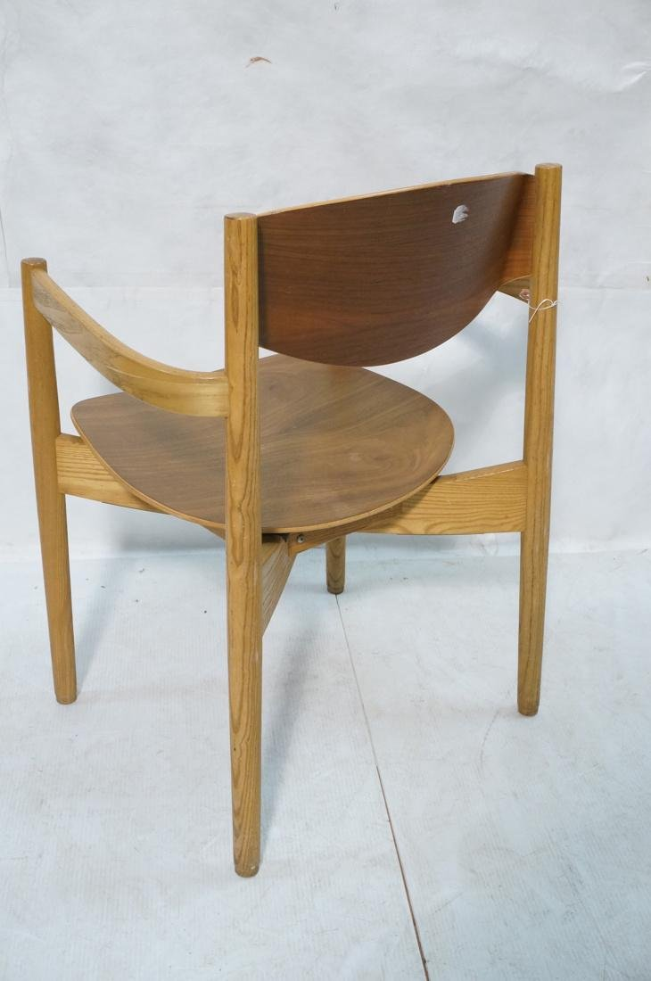 Pr JENS RISOM Blond Wood Arm Side Dining Chairs. - 6