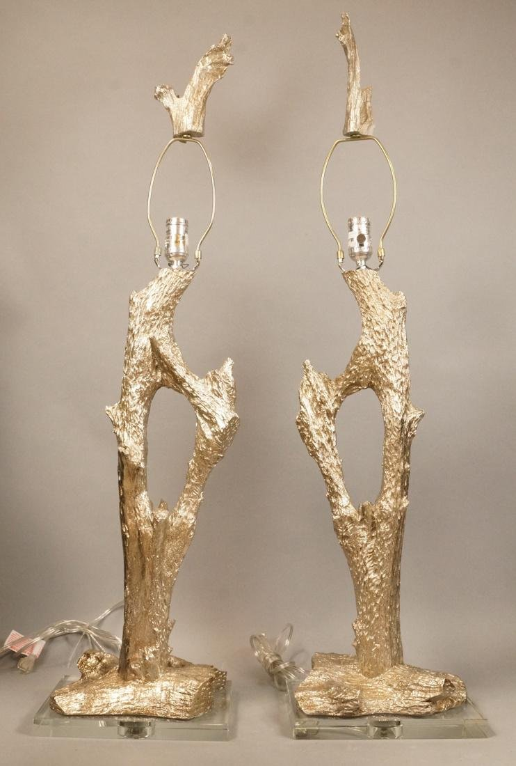 Pr Decorator Cast Tree Branch Table Lamps. Stylis