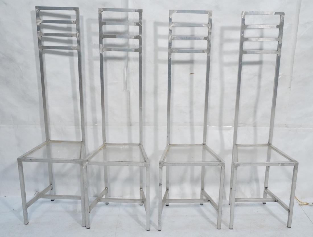 Set of 4 Aluminum Square Tube High Back Chairs. I