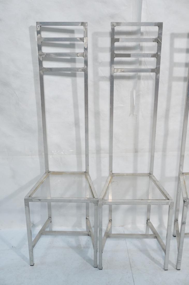 Set of 4 Aluminum Square Tube High Back Chairs. I - 2