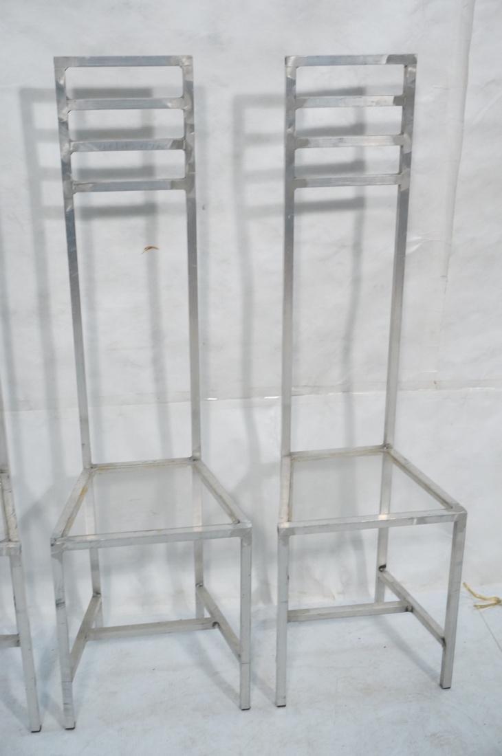 Set of 4 Aluminum Square Tube High Back Chairs. I - 3