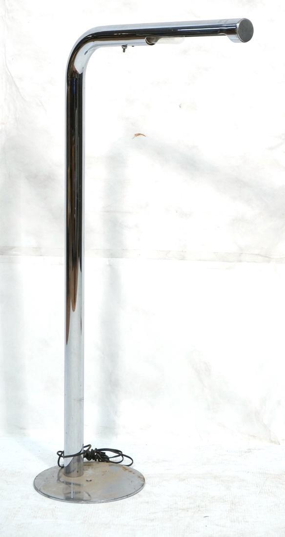 Modernist Chrome Tube Floor Lamp. Possibly Italia