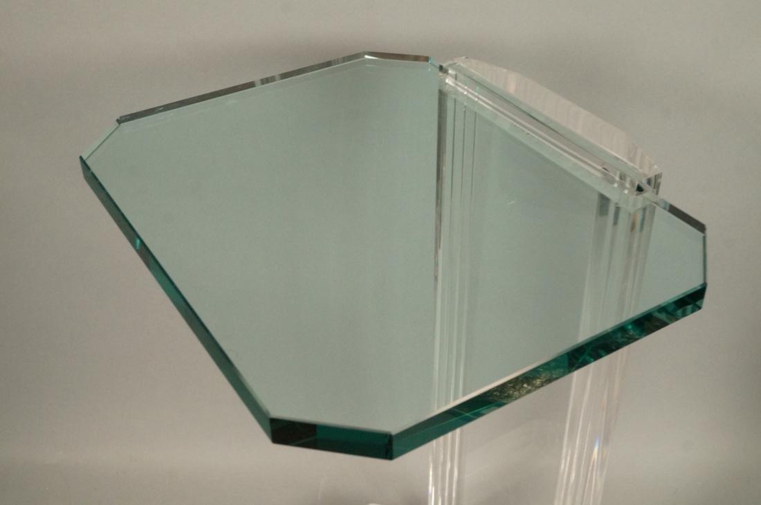 LES PRISMATIQUES Glass and Lucite Side End Table. - 2