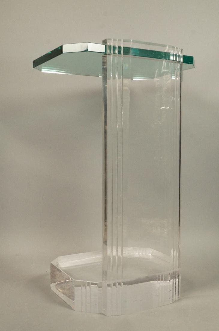 LES PRISMATIQUES Glass and Lucite Side End Table. - 6