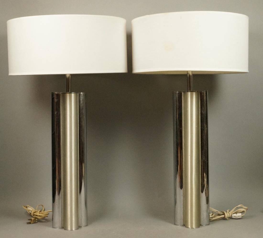 Pr MUTUAL SUNSHADE COMPANY Chrome Table Lamps. 4
