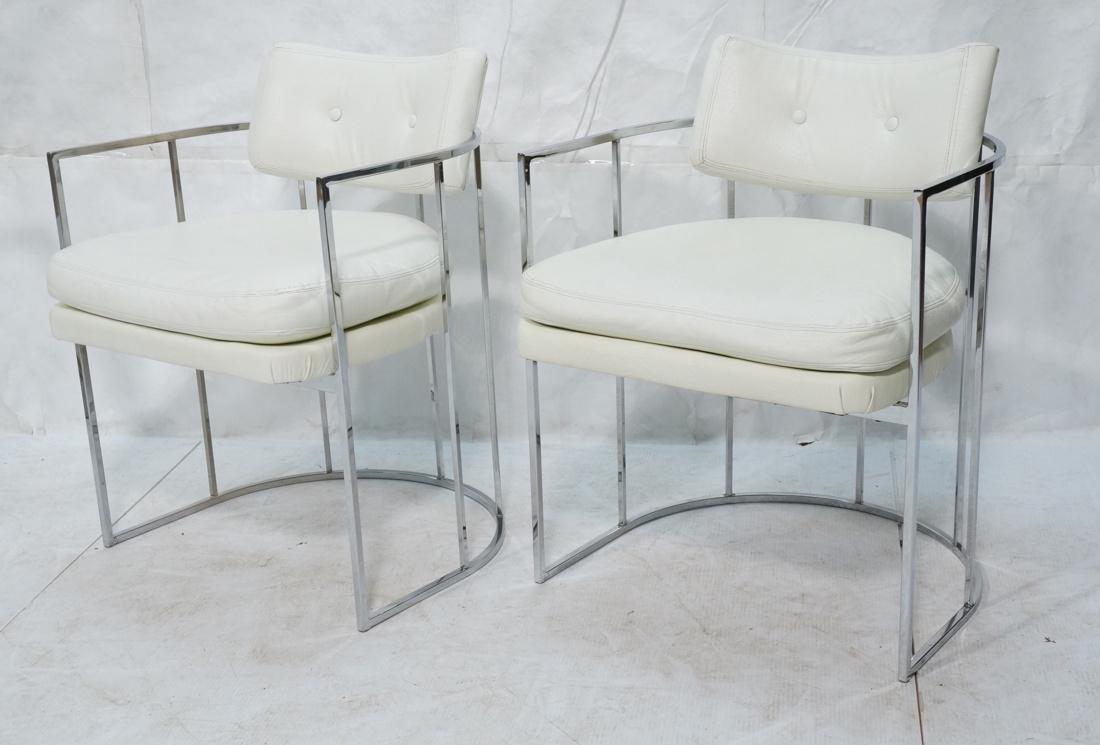 Pr MILO BAUGHMAN Thin Square Tube Side Chairs. Ba