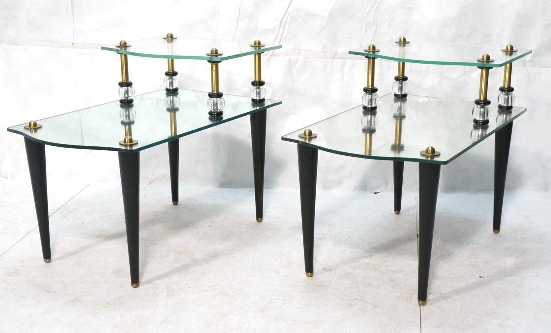 Pr Modern Wood Glass Mirrored Step Tables. Decora