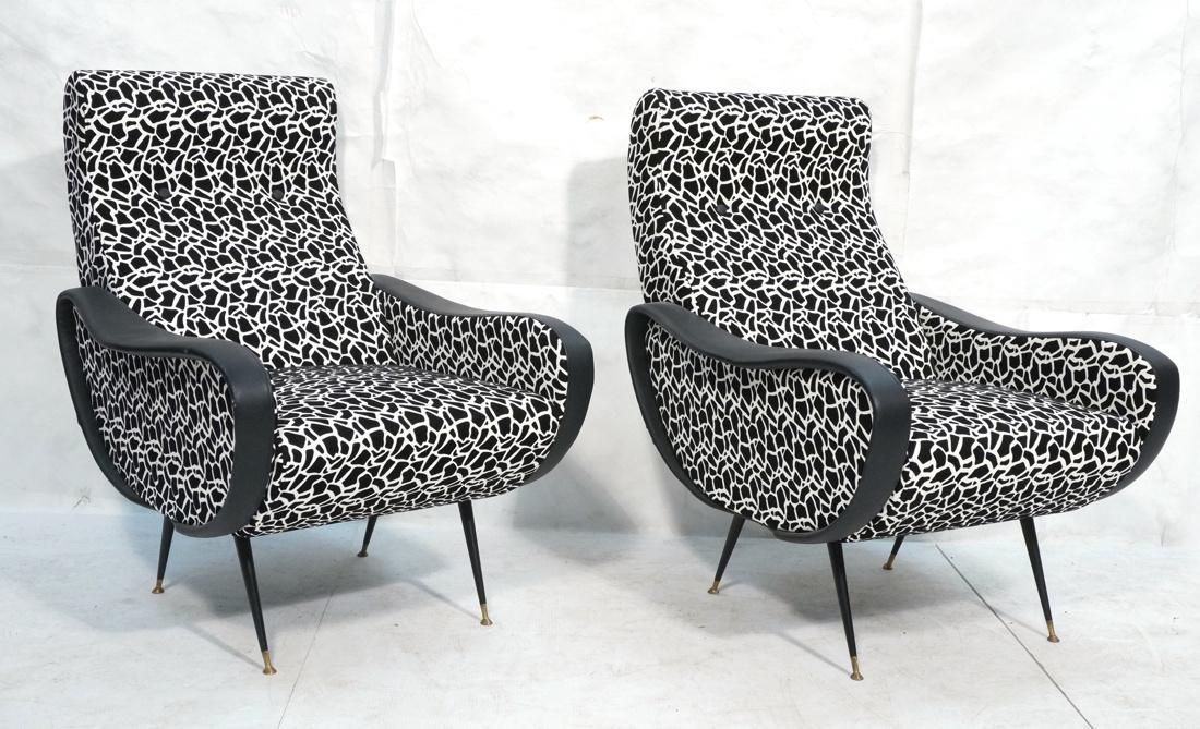 Pr Italian Upholstered Modernist Lounge Chairs. S