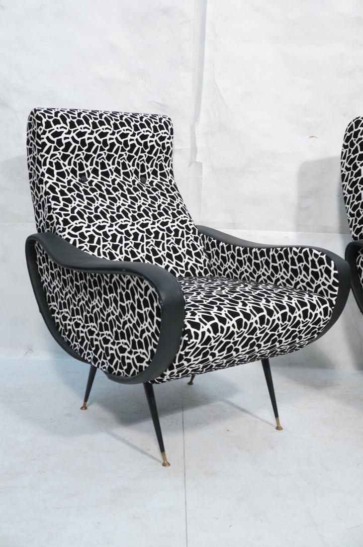 Pr Italian Upholstered Modernist Lounge Chairs. S - 2