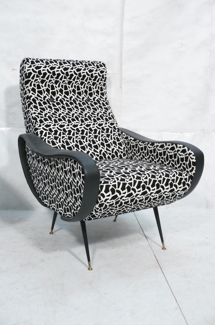 Pr Italian Upholstered Modernist Lounge Chairs. S - 3