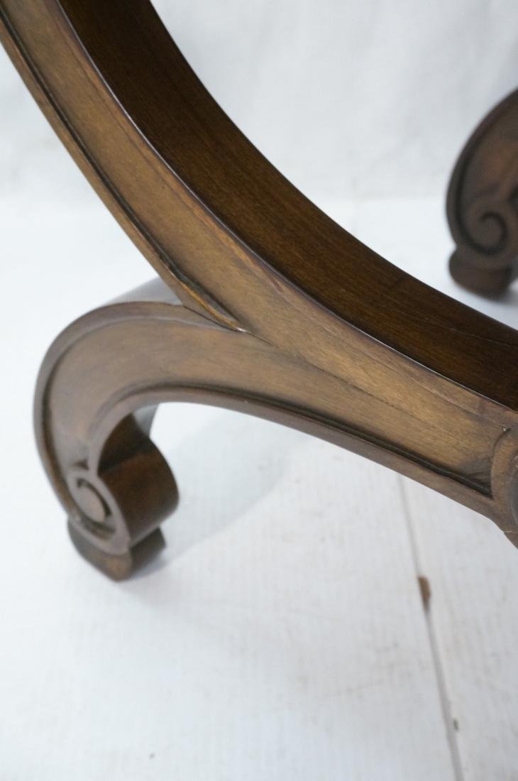 Pr Decorator X Base Carved Wood Foot Stools. Dark - 4
