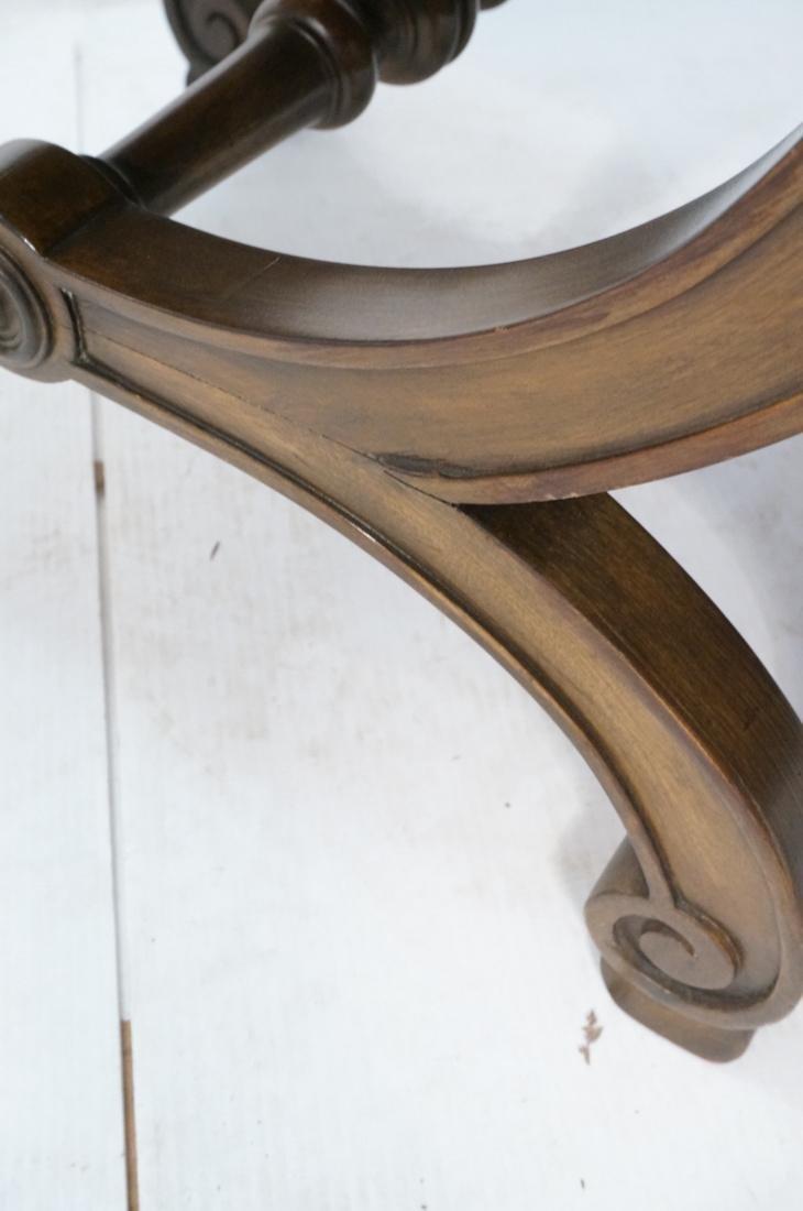 Pr Decorator X Base Carved Wood Foot Stools. Dark - 5