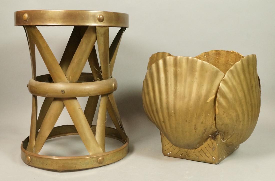 "2 Pc Decorator Brass Lot. Corseted ""X"" frame benc"