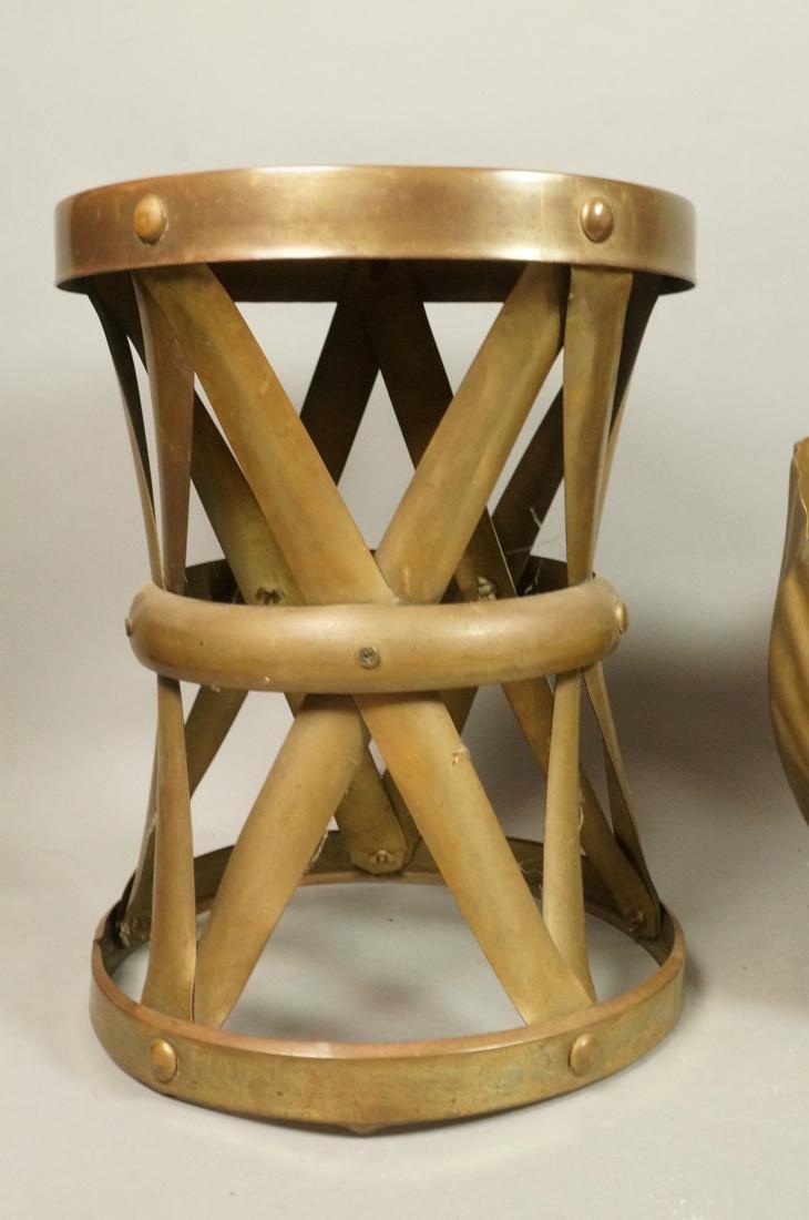"2 Pc Decorator Brass Lot. Corseted ""X"" frame benc - 2"