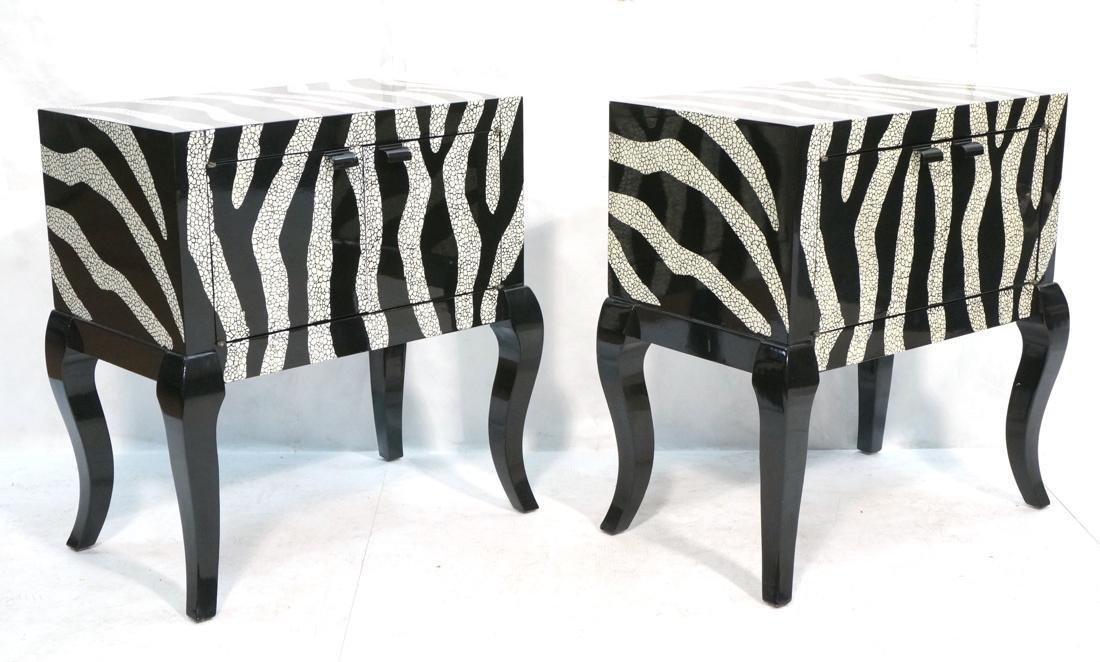 Pr of Decorator Zebra Patterned Cabinets. Black a