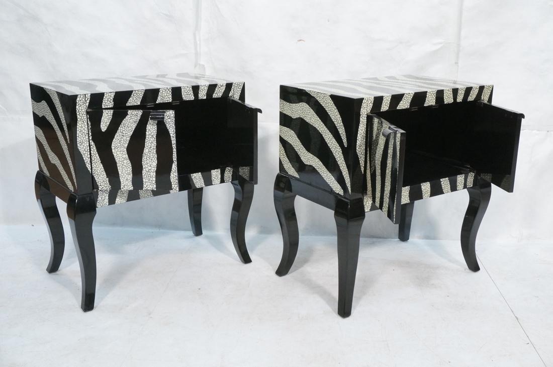 Pr of Decorator Zebra Patterned Cabinets. Black a - 2