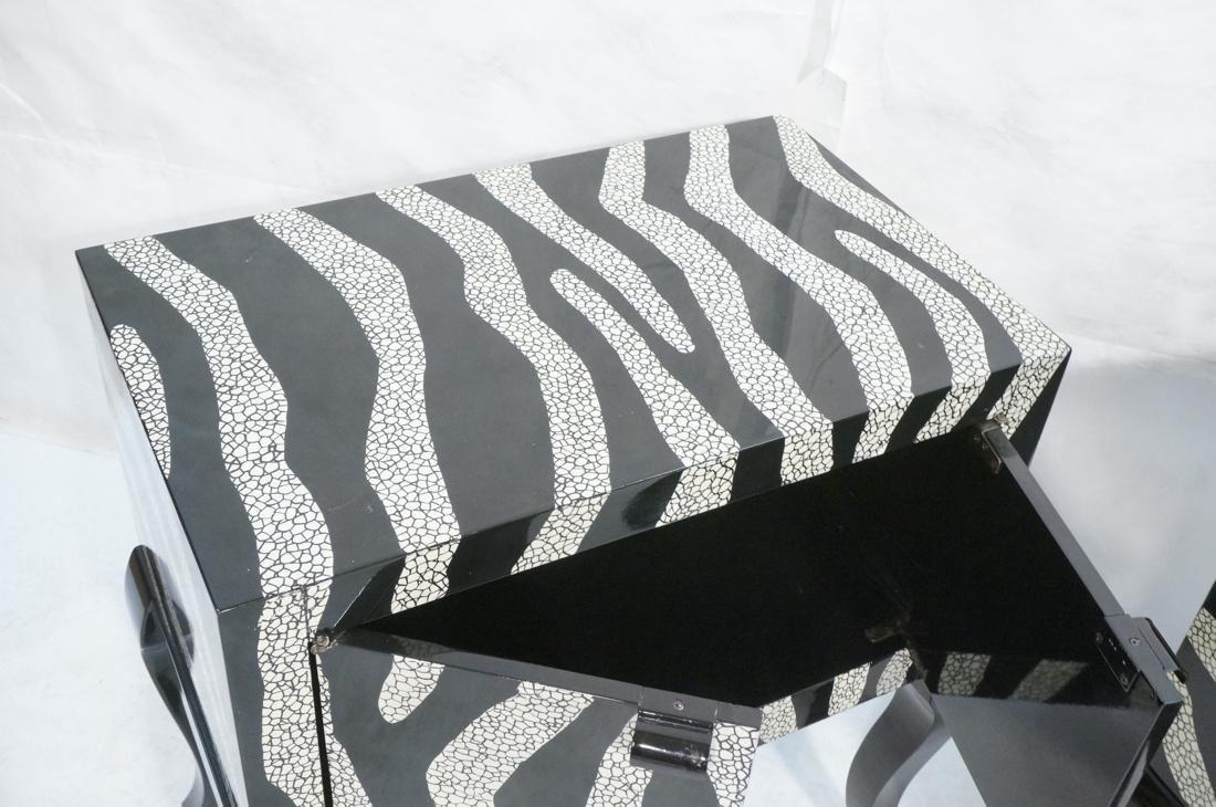 Pr of Decorator Zebra Patterned Cabinets. Black a - 3