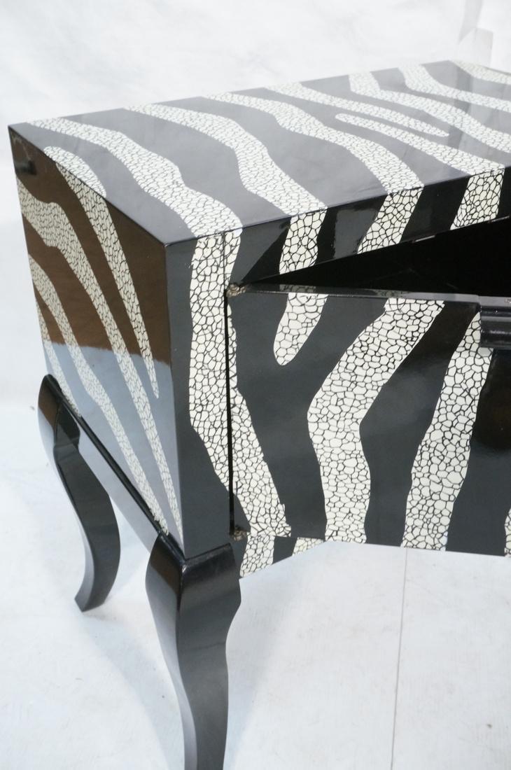 Pr of Decorator Zebra Patterned Cabinets. Black a - 4