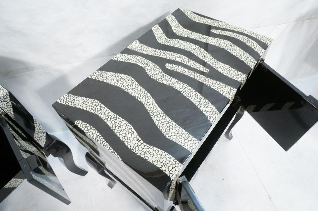 Pr of Decorator Zebra Patterned Cabinets. Black a - 5