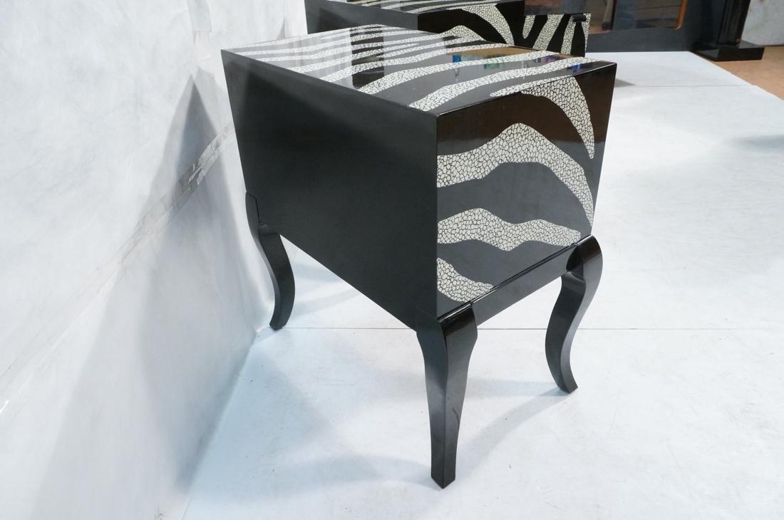 Pr of Decorator Zebra Patterned Cabinets. Black a - 7