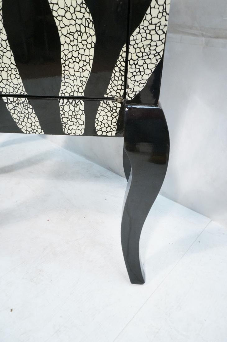 Pr of Decorator Zebra Patterned Cabinets. Black a - 8