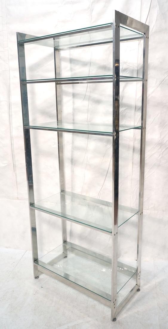 Stainless Glass Etagere Display Shelf Unit. 5 gla