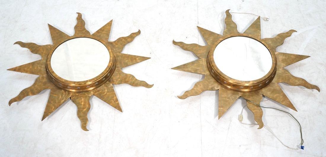 Pr NIERMANN WEEKS Bronze Copper Sun Wall Mirrors.