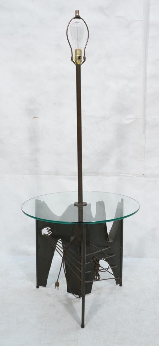 Brutalist welded metal Floor Lamp Table. Round gl
