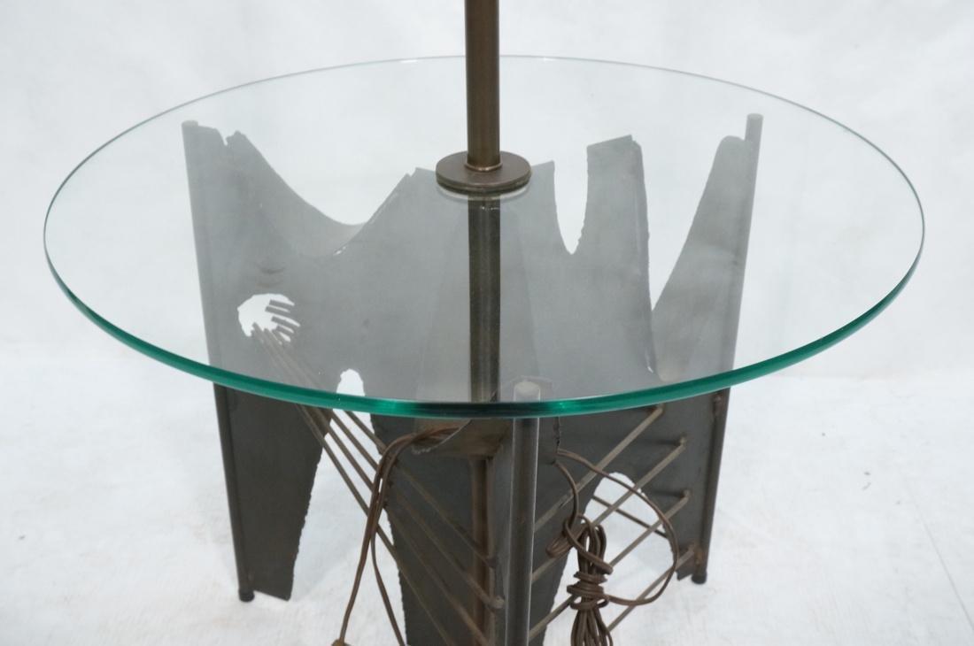 Brutalist welded metal Floor Lamp Table. Round gl - 3