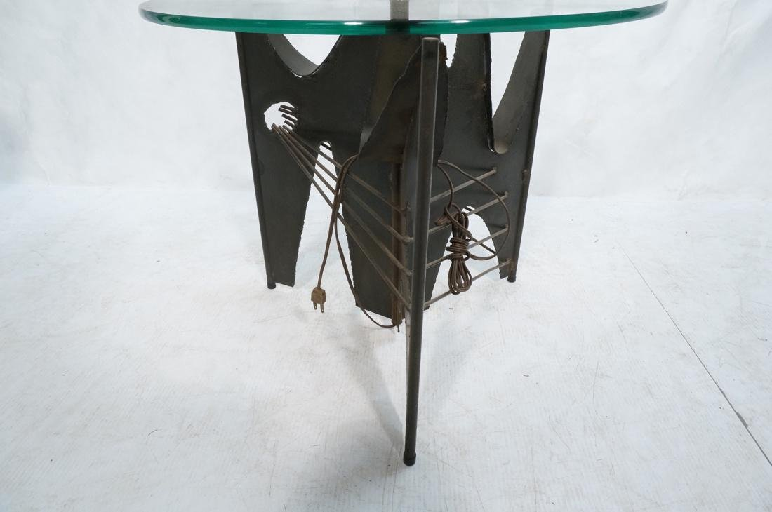 Brutalist welded metal Floor Lamp Table. Round gl - 4
