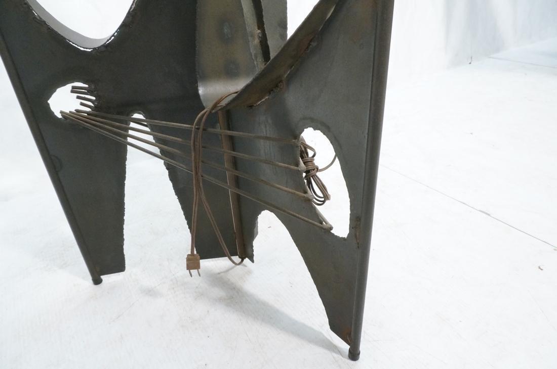 Brutalist welded metal Floor Lamp Table. Round gl - 5