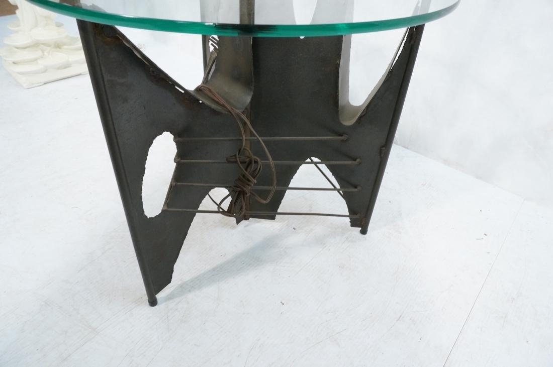 Brutalist welded metal Floor Lamp Table. Round gl - 6