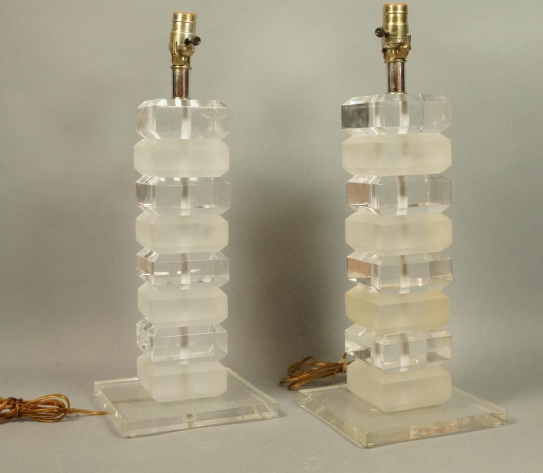 Pr Stacked Lucite Table Lamps. Alternating froste