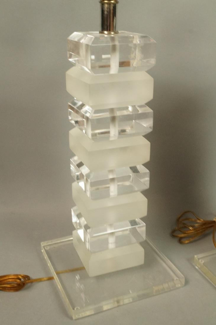 Pr Stacked Lucite Table Lamps. Alternating froste - 2