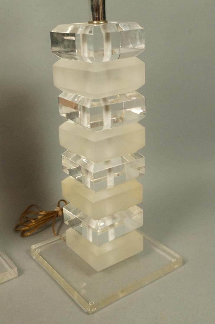 Pr Stacked Lucite Table Lamps. Alternating froste - 3