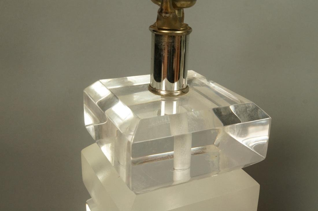 Pr Stacked Lucite Table Lamps. Alternating froste - 4