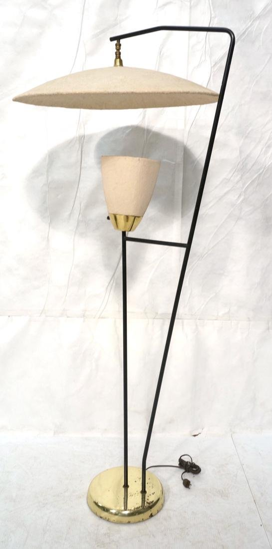 Modernist Brass & Black Floor Lamp. Painted doubl