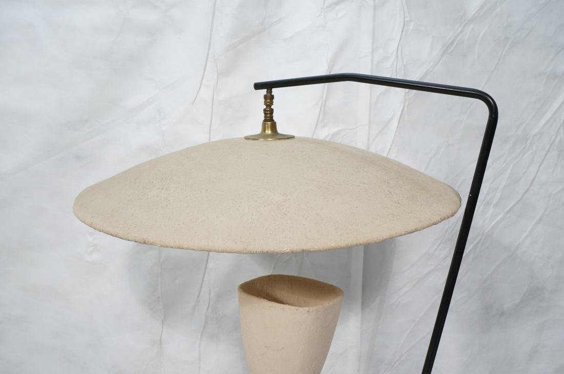 Modernist Brass & Black Floor Lamp. Painted doubl - 2