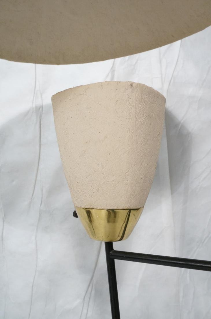 Modernist Brass & Black Floor Lamp. Painted doubl - 3